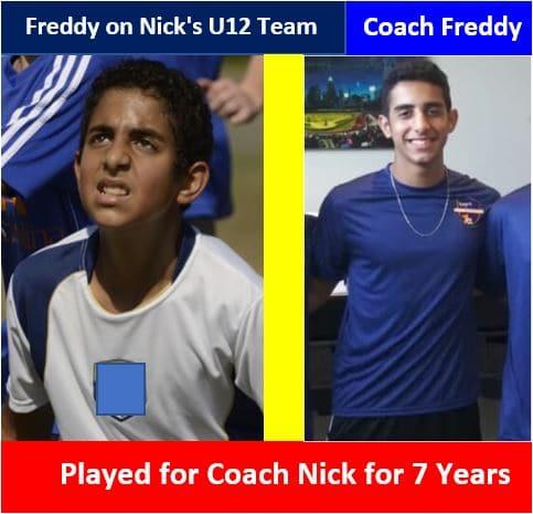 Coach Freddy coaches the Boys U14 Team