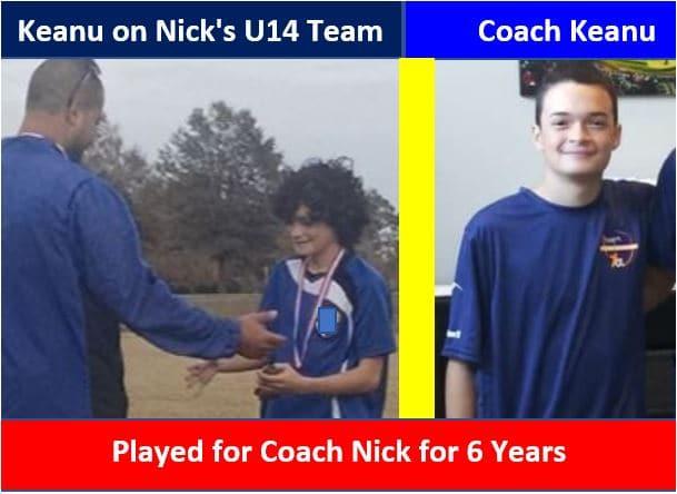 Coach Keanu coaches the U12 team.
