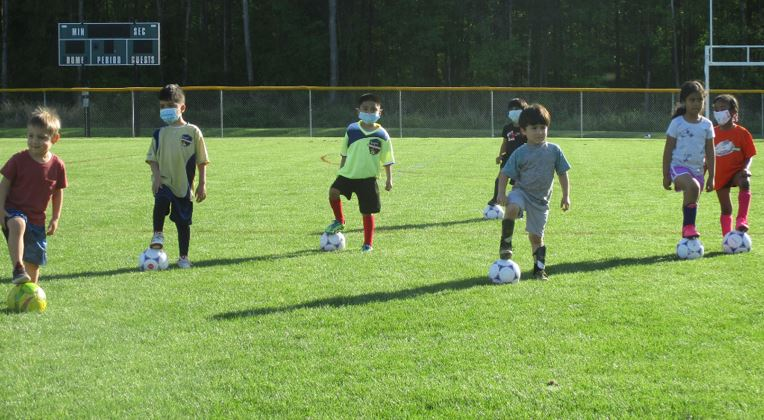 Youth soccer practice for ages 4 - 6.