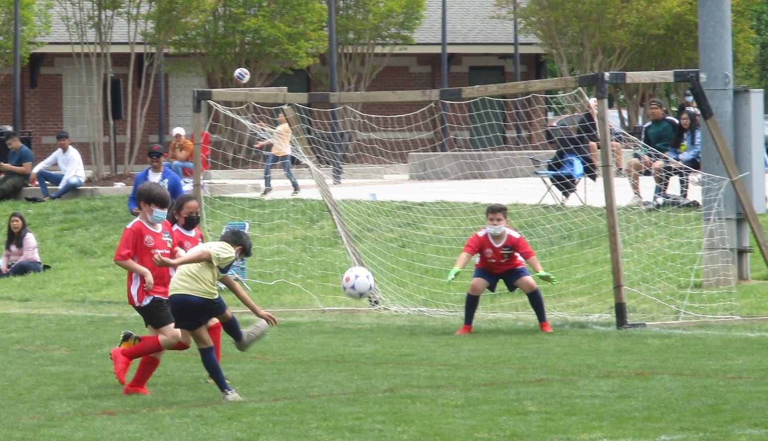 Striker takes a shot on goal.