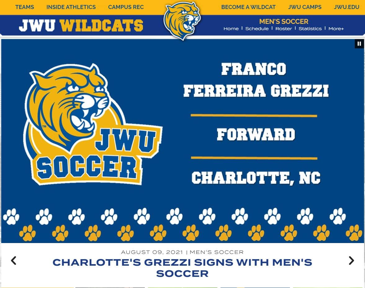 Franco Grezzi of Hope Soccer commits to Johnson and Wales University Men's Soccer team.