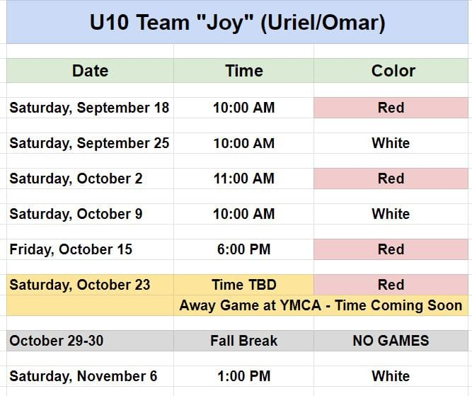 Youth soccer team in Pineville - Game Schedule - Ages 8 and 9.