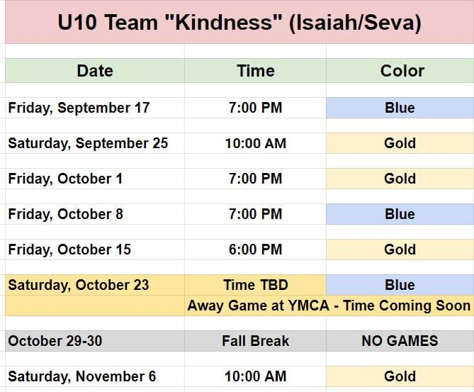Game schedule for youth soccer team in Charlotte.