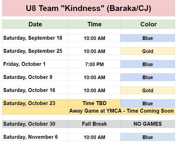 Youth Soccer Game Schedules for Team Kindness.