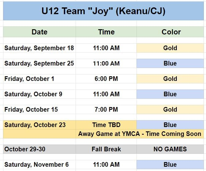 Youth soccer game schedule for a Charlotte team.