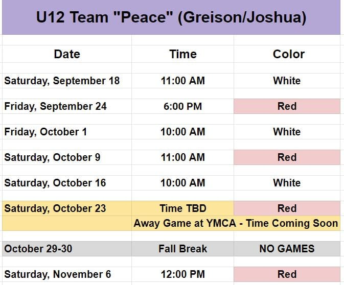 Soccer schedule for youth team that plays near Charlotte.