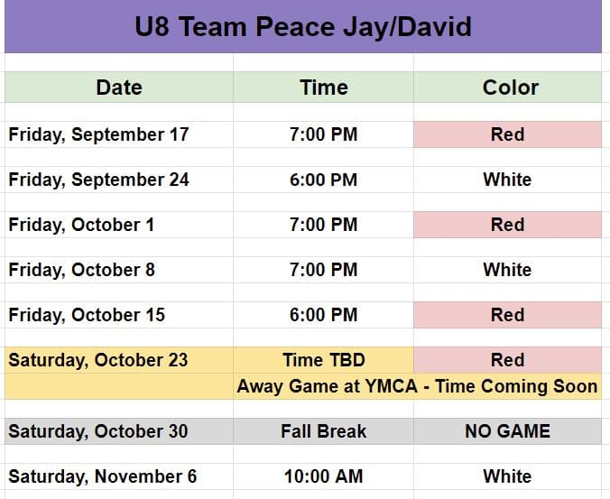 Youth game schedule for Hope Soccer U8 Team - Team Peace.