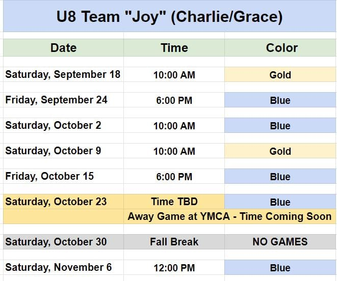 """Youth Soccer Schedule - Team """"Joy"""" - Ages 6 and 7."""
