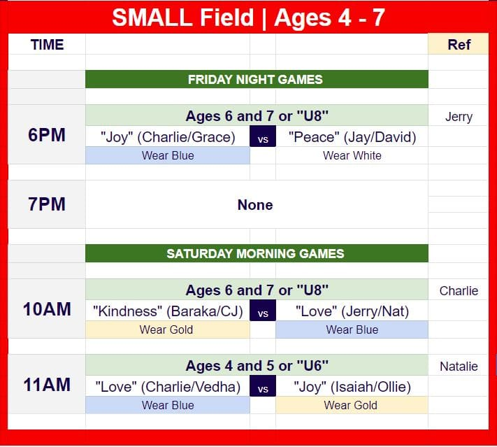 Hope Soccer Schedule for youth games.