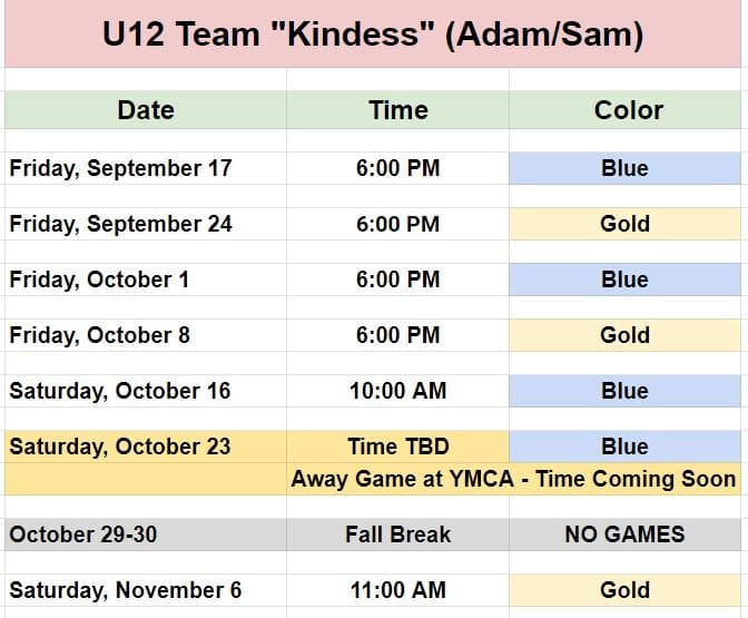 Soccer schedule for a U12 Youth team in Pineville.