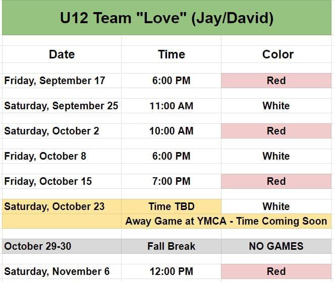 Youth soccer schedule U12 Team Love.
