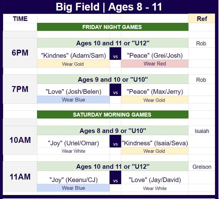 Soccer schedule for kids ages 8 to 11.