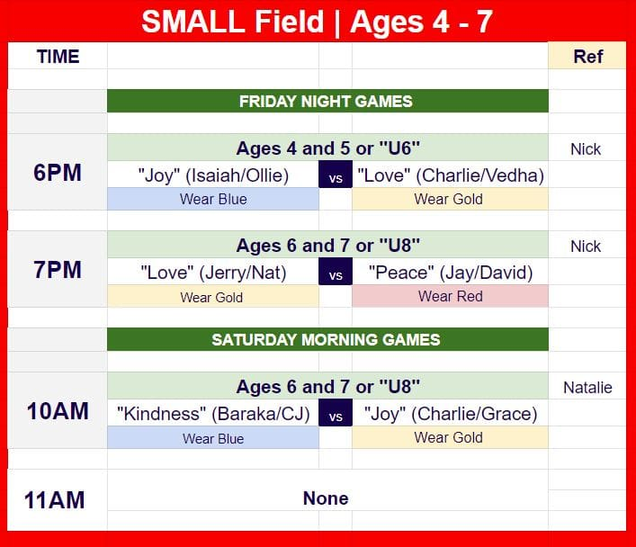 Hope Soccer Schedule for ages 4 - 7 on Sept. 17.