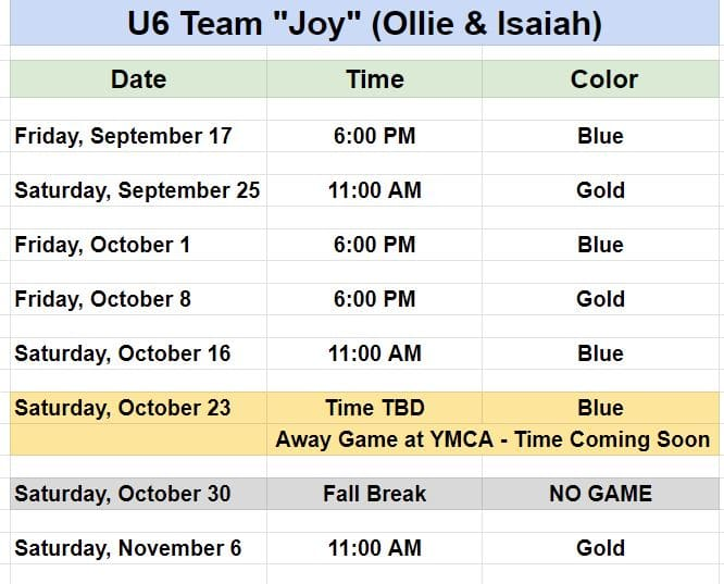 Soccer Schedule for Pineville Youth Team - Team Joy