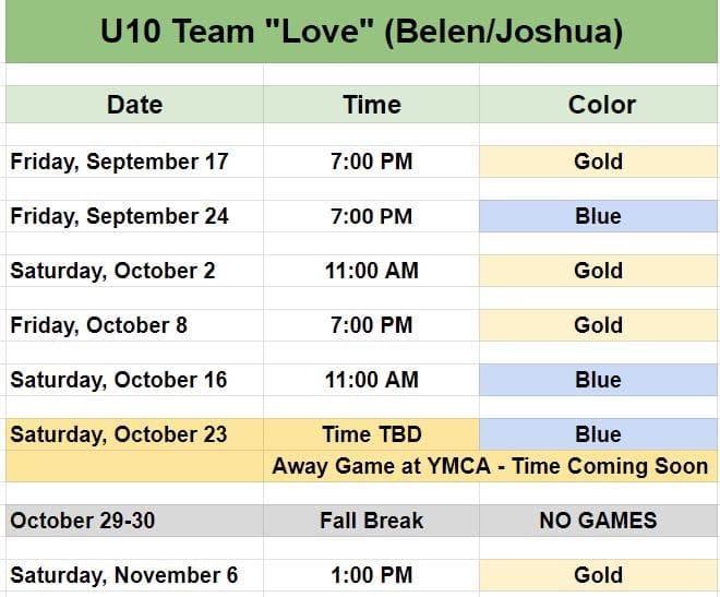 Kid's soccer team in Pineville - Game Schedule.