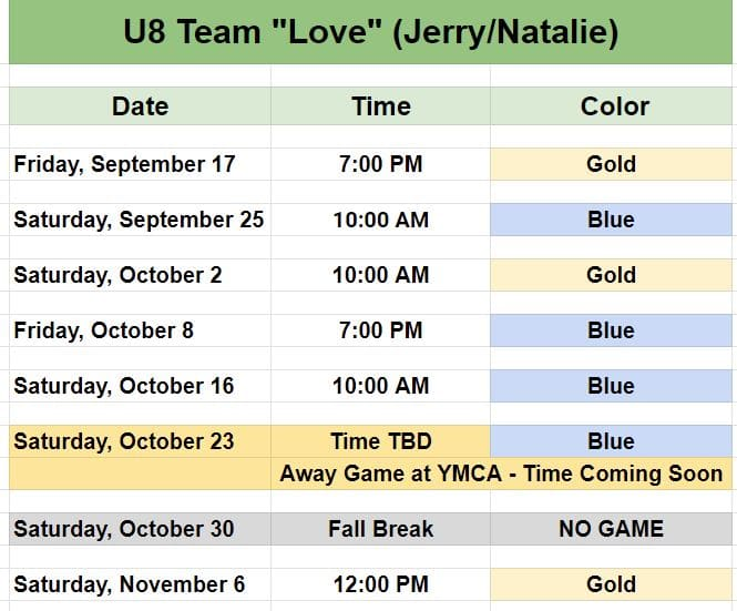 Youth soccer in Pineville - Team Game Schedules.